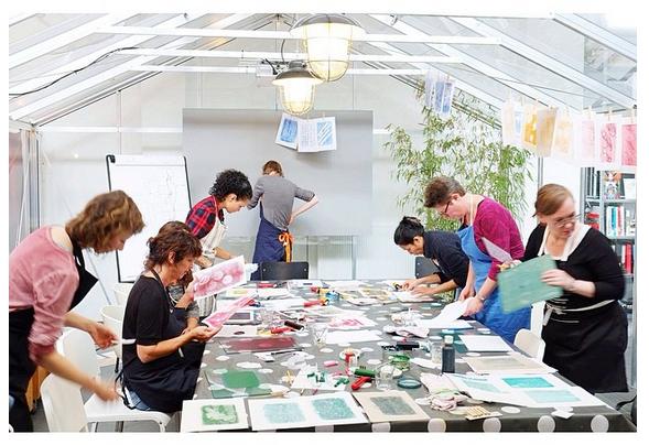workshop monoprint in de kas bij DRUK | Urlaub | Utrecht
